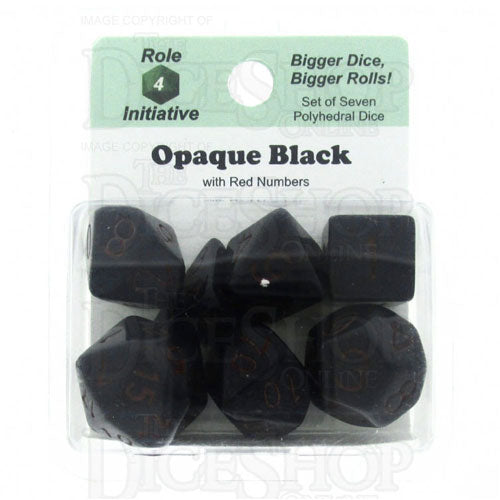 Opaque 7 Dice Set: Black/Red