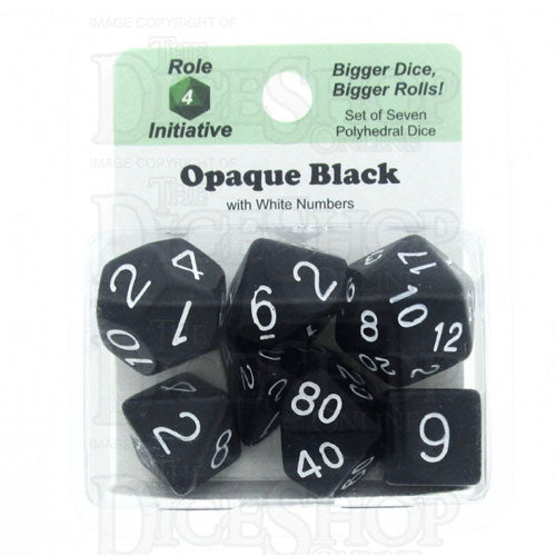 Opaque 7 Dice Set: Black/White
