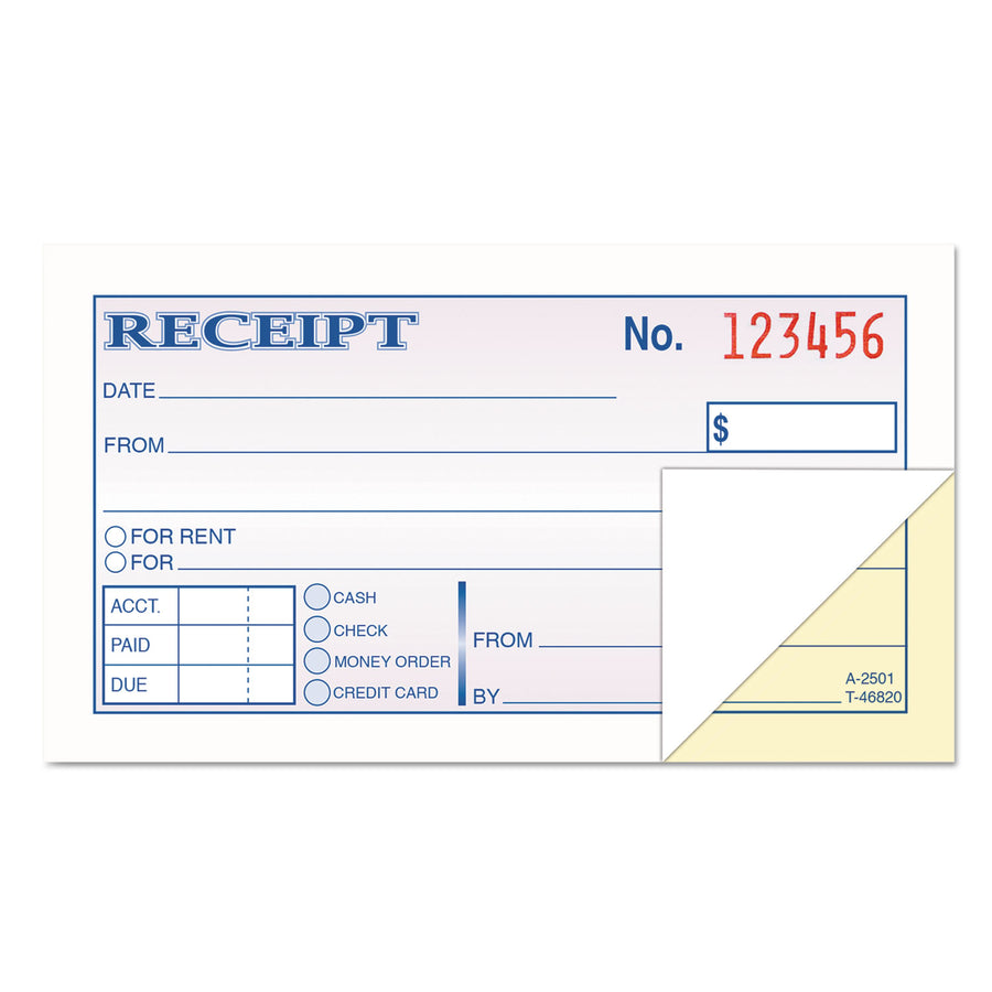 200 Forms 6 7//8 x 2 3//4 Hardcover Numbered Money Receipt Book 3 Pack Three-Part