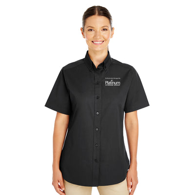 Platinum Ladies Cotton Short Sleeve Shirt - Stock
