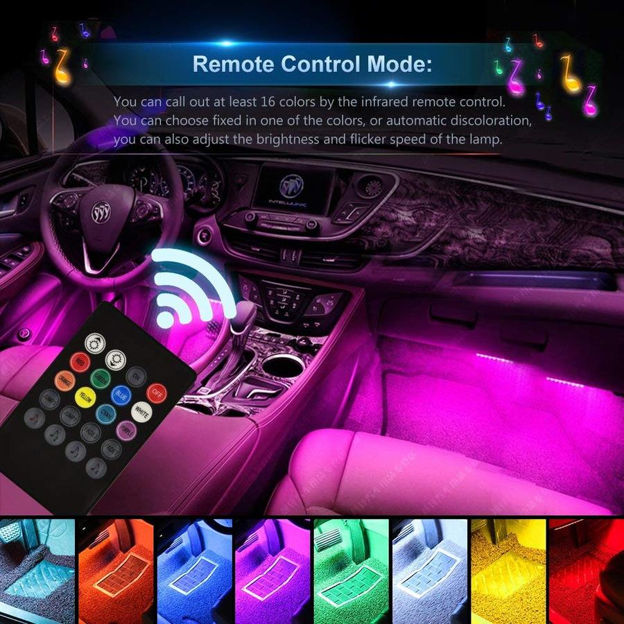 Car Interior Lights, 4PCS 48 LED Wireless Remote Control Multicolor Music Interior Strip Lights for Car TV Home