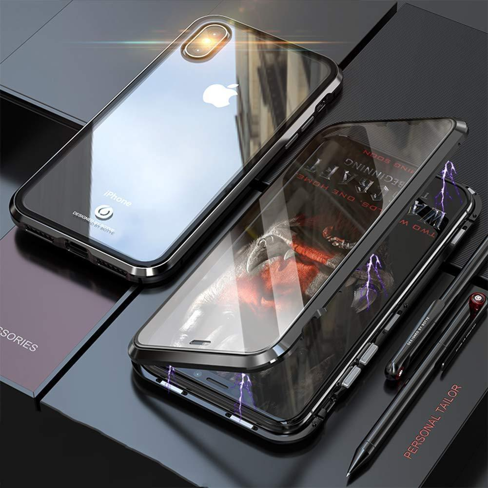 (BUY 2 FREE SHIPPING) iphone Magnetic Adsorption Transparent Glass Cover Phone Case