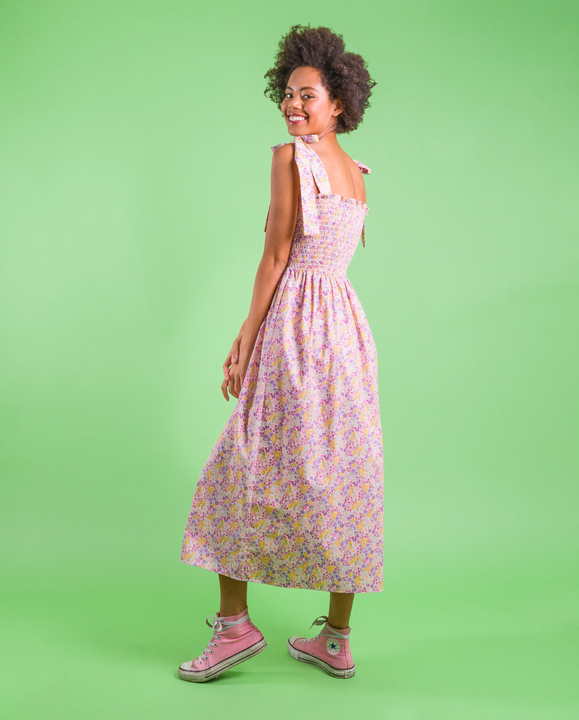 sewing project, upcycled fabric, easy sewing project for kids, unique sewing project, sewing blog, plus size sewing pattern, sewing project for beginners, threadymade, dakota dress, summer floral
