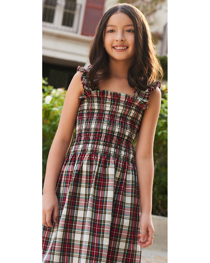 easy sewing project, upcycled fabric, smocked dress sewing project, easy sewing project for kids, unique sewing project, sewing blog, plus size sewing pattern, sewing project for beginners, threadymade, dakota dress, Dress Stewart Tartan, ethical at home sewing projects, Girls dress, girls casual dress , girls day dress, girls house dress, girls party dress