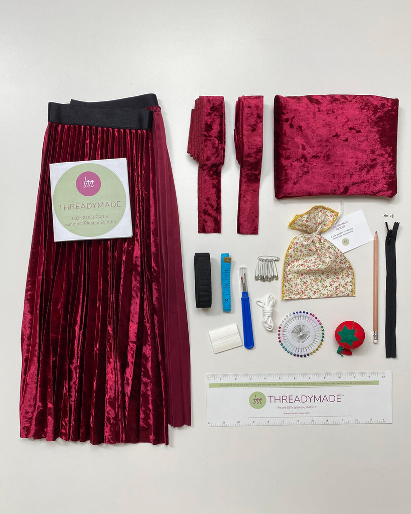 Accordian Pleated Skirt Kit, Cartridge pleated skirt kit, Sunburst pleated skirt kit, DIY pleated skirt kit,pleated skirt panel, extra yardage, sewing notions, invisible zipper, hook and eye, tunnel waistband, fixed waistband, tape measure, saftey pins, straight pins, mask elastic, seam riper, tailors chalk, threadymade ruler, pincushion, interior elastic, pin cushion, wine crushed velvet, upcycled fabric