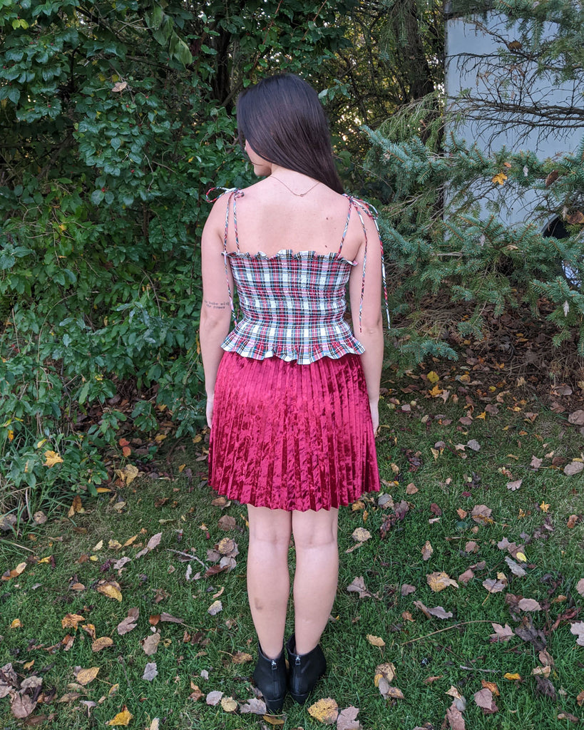 sunburst skirt, easy sewing project, upcycled crushed velvet, unique sewing project, sewing blog, plus size sewing pattern, sewing project for beginners,  knife pleat skirt, accordion pleat skirt, sunburst pleat skirt, threadymade, Paris skirt, ethical at home sewing project , mini skirt, laser hem, sonobon hem, plain weave dress stwart tartan, smocked top, elastic shirred tank top, Frankie top