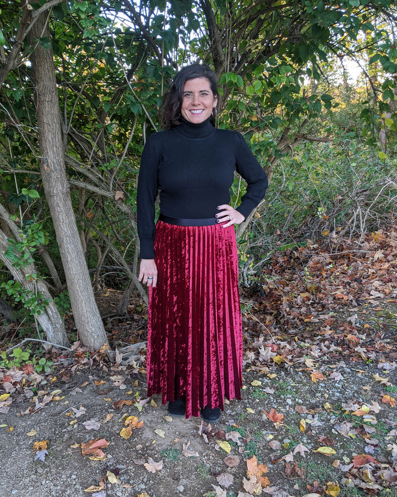 unburst skirt, easy sewing project, upcycled crushed velvet, unique sewing project, sewing blog, plus size sewing pattern, sewing project for beginners,  knife pleat skirt, accordion pleat skirt, sunburst pleat skirt, threadymade, monroe skirt , ethical at home sewing project, maxi skirt laser hem, sonobon hem