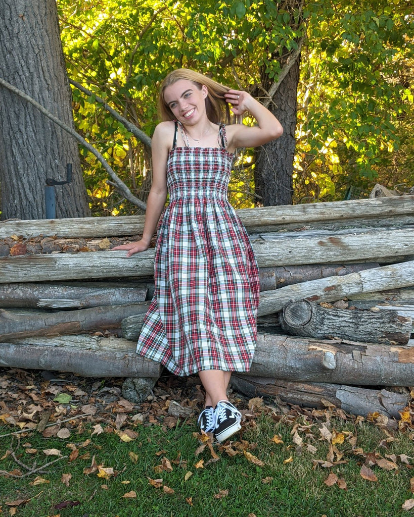 sewing project, upcycled fabric, smocked dress sewing project, easy sewing project for kids, unique sewing project, sewing blog, plus size sewing pattern, sewing project for beginners, threadymade, dakota dress, Dress Stewart Tartan, ethical at home sewing projects