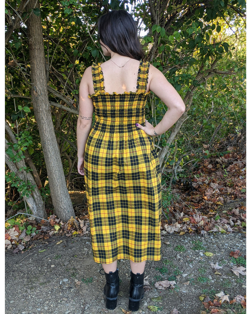sewing project, upcycled fabric, smocked dress sewing project, easy sewing project for kids, unique sewing project, sewing blog, plus size sewing pattern, sewing project for beginners, threadymade, dakota dress, Macloe Tartan, ethical at home sewing projects