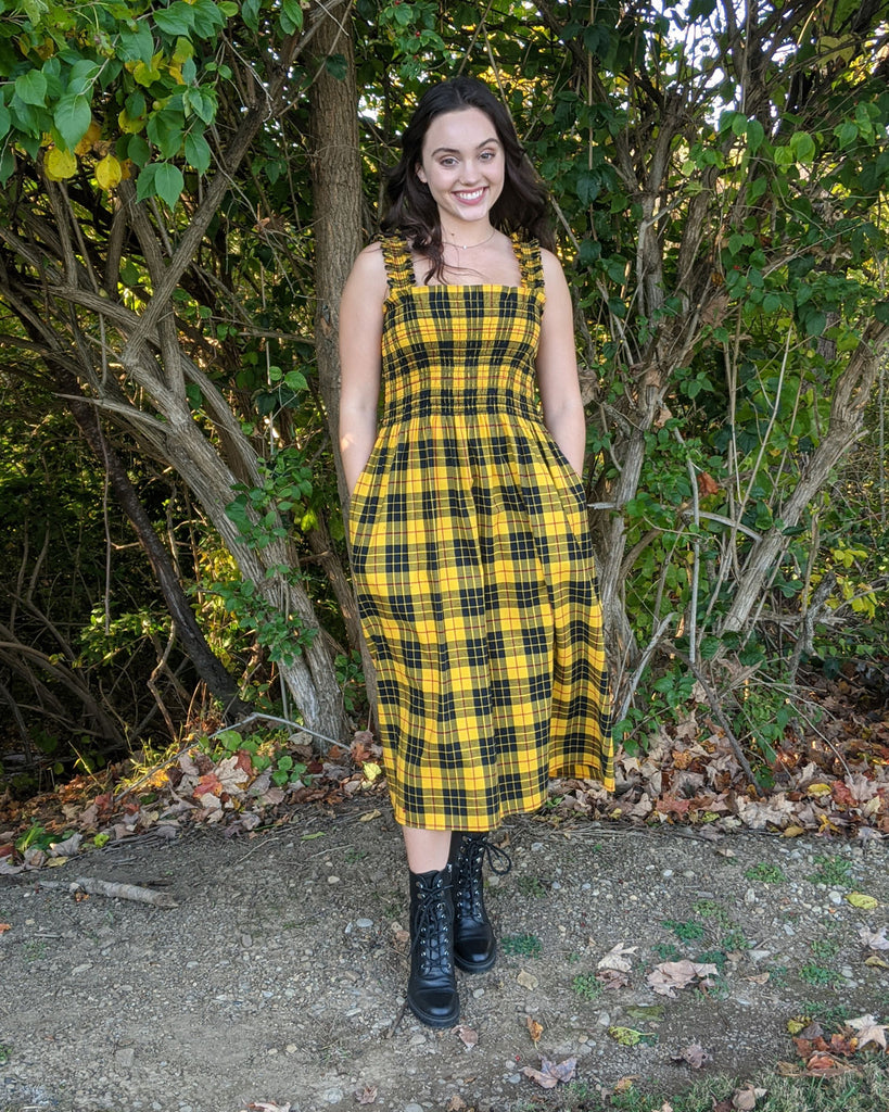 sewing project, upcycled fabric, smocked dress sewing project, easy sewing project for kids, unique sewing project, sewing blog, plus size sewing pattern, sewing project for beginners, threadymade, dakota dress, Macloed Tartan, ethical at home sewing projects