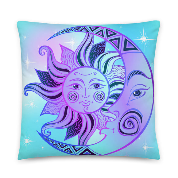 Sun Moon Celestial Throw Pillow Case + Optional Pillow