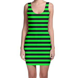 Green and Black Striped Fitted Mini Dress