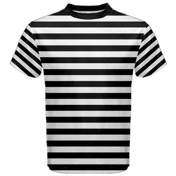 Black and White Striped Men's T-Shirt