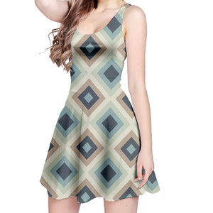 Blue Gray Diamond Pattern Sleeveless Dress