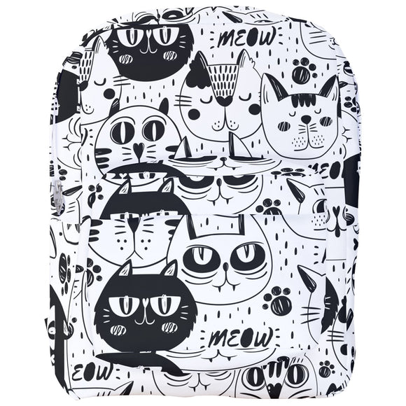 Black and White Cats Pattern Backpack