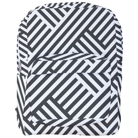 Charcoal and White Stripes Pattern Backpack