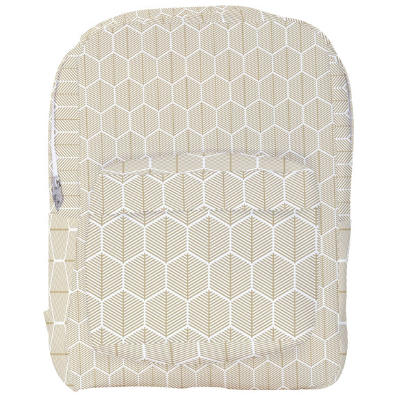 Gold Striped Honeycomb Pattern Backpack