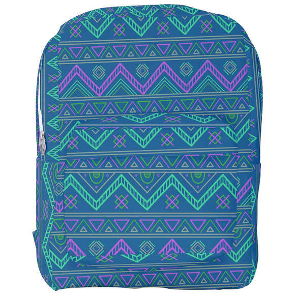Blue and Purple Geometric Pattern Backpack