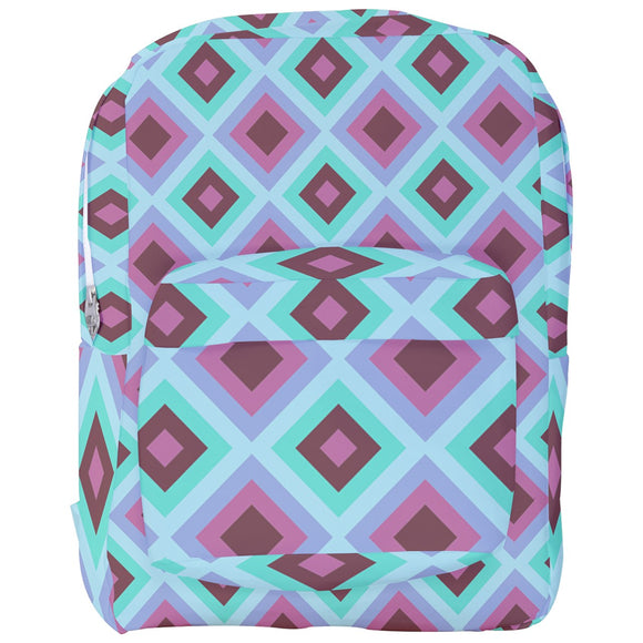 Blue and Purple Diamonds Pattern Backpack