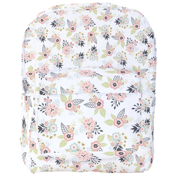 White Floral with Hearts Pattern Backpack
