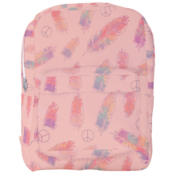 Peace Signs and Feathers Pink Backpack