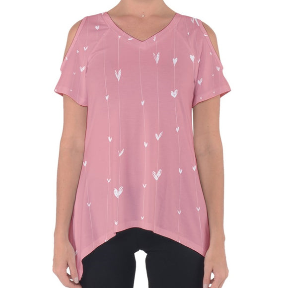 Pink with White Hearts Cold Shoulder Top