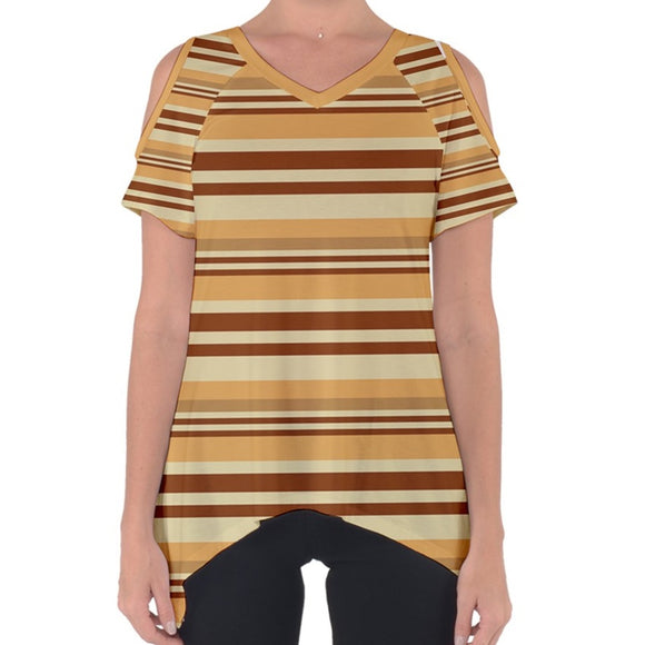Brown Striped Cold Shoulder Top