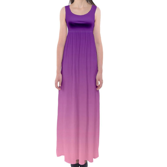 Purple to Pink Ombre Gradient Empire Waist Maxi Dress