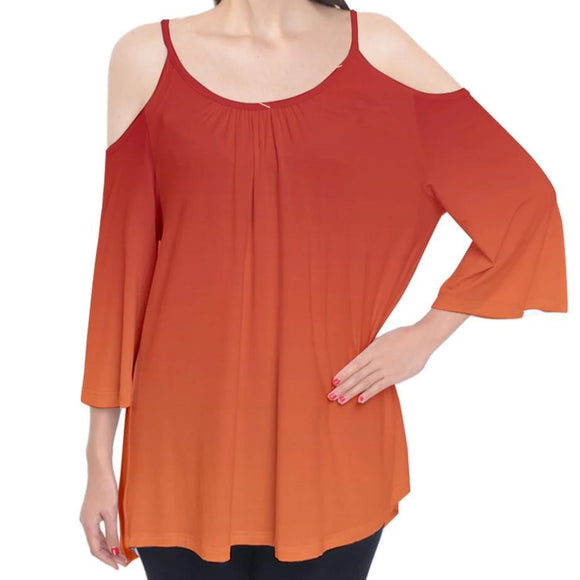 Red Orange Ombre Cold Shoulder Top