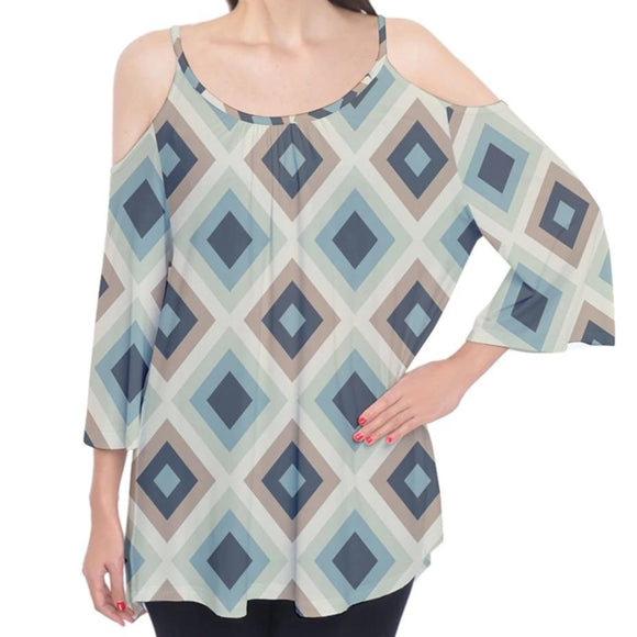 Blue Gray Diamond Pattern Cold Shoulder Top