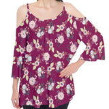 Burgundy Floral with Hearts Cold Shoulder Top