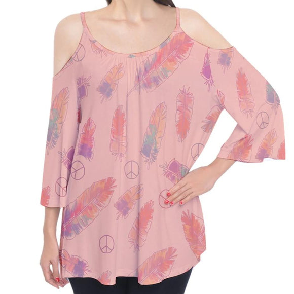 Peace Signs and Feathers Pink Cold Shoulder Top