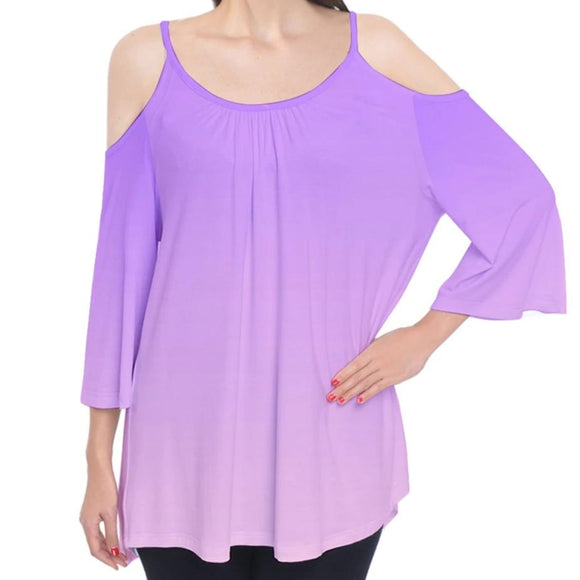 Purple to Pink Ombre Cold Shoulder Top