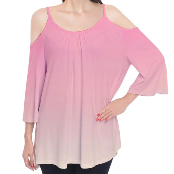 Pink to Yellow Ombre Cold Shoulder Top