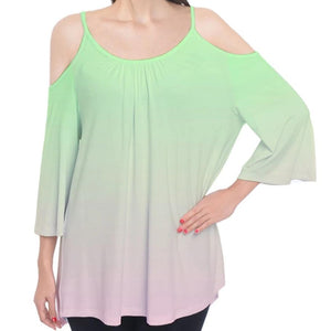 Green to Pink Ombre Cold Shoulder Top
