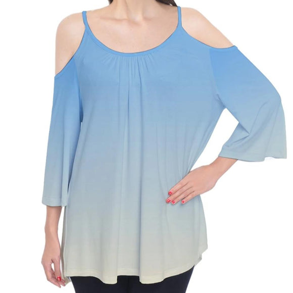 Blue to Yellow Ombre Cold Shoulder Top