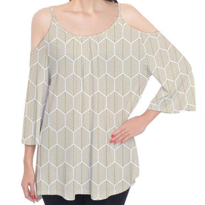 Honeycomb Design Cold Shoulder Top