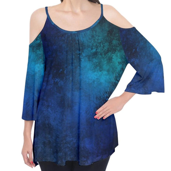 Blue Grunge Pattern Cold Shoulder Top