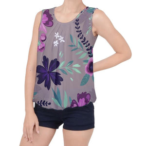 Purple Floral Pattern Bubble Hem Chiffon Tank Top