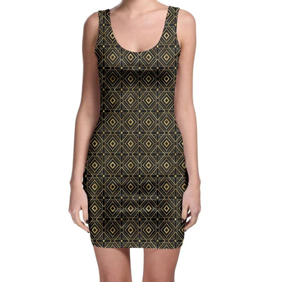 Black and Gold Geometric Bodycon Dress