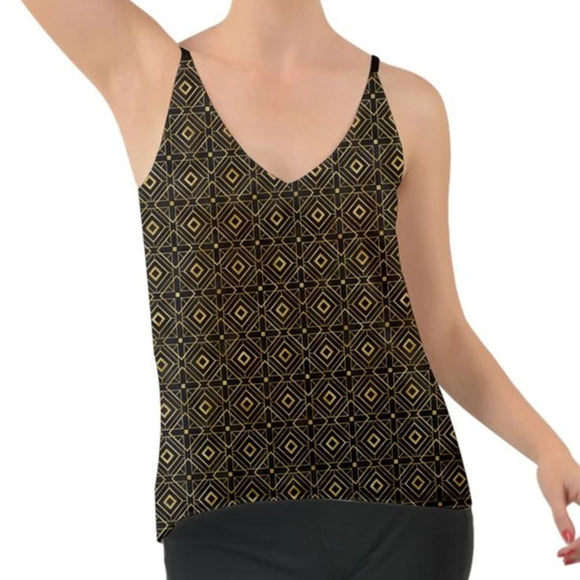 Black and Gold Geometric Chiffon Cami