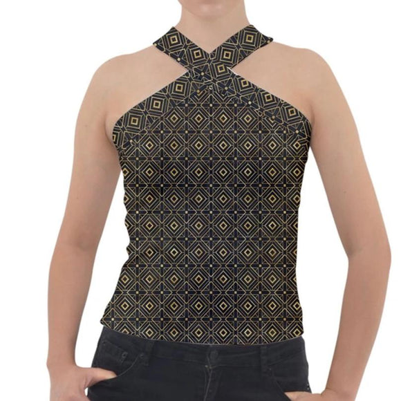 Black and Gold Geometric Pattern Cross Neck Velour Top
