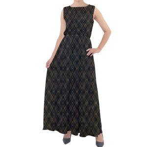 Gold Pattern Black Chiffon Mesh Maxi Dress