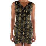 Bold Gold and Black Geometric Pattern Wrap Front Bodycon Dress