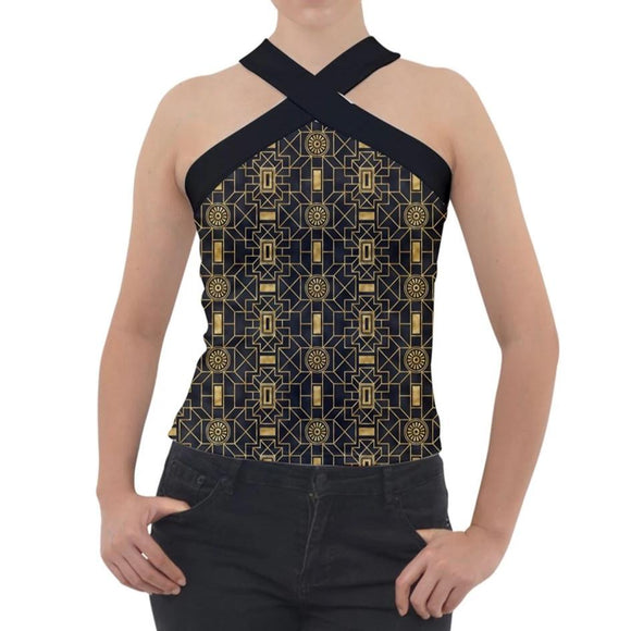 Bold Black and Gold Geometric Pattern Cross Neck Velour Top