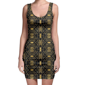 Bold Black and Gold Geometric Pattern Bodycon Dress