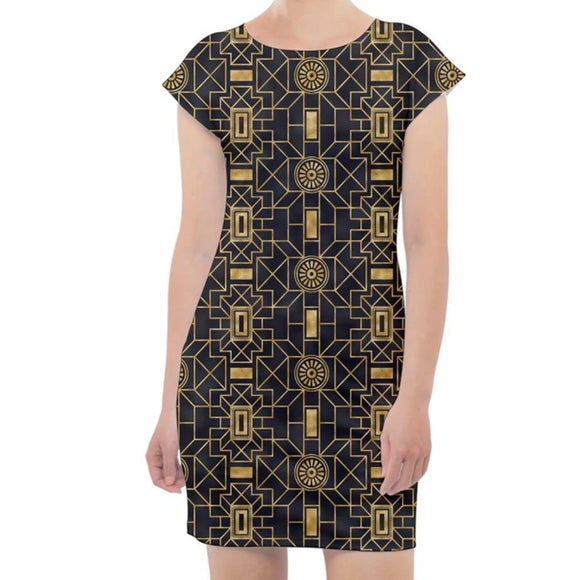 Black and Gold Geometric Pattern Cap Sleeve Bodycon Dress