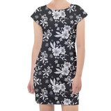 White and Black Floral Cap Sleeve Bodycon Dress