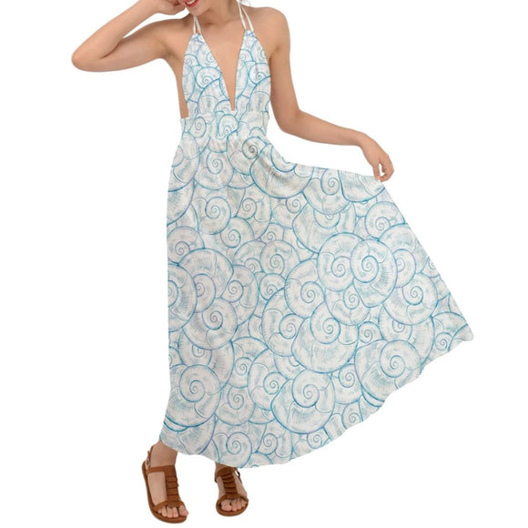 Blue and White Shells Pattern Backless Maxi Beach Dress