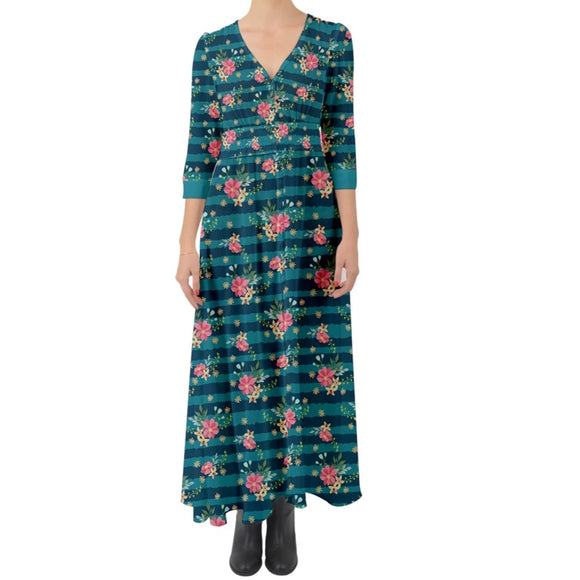 Blue Striped Floral Button Up Maxi Dress
